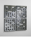 Akari Geometric Mirrored Panels (Set of 4) by Cyan Design