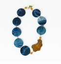 Ali & Bird Blue Circle and Mustard Agate Necklace