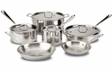 All Clad Stainless Steel 10 Piece Cookware Set