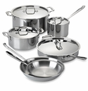 All Clad Stainless Steel 10 Piece Cookware Set with Casserole