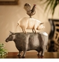 American Folk Art Trio Sculpture (Chicken, Cow & Pig) by SPI Home