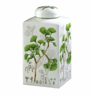 "Andrea by Sadek 10"" H Gingko Botanical Square Covered Jar"