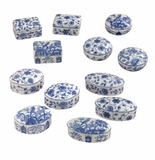 "Andrea by Sadek 12 Assorted 1.75"" H Boxes Blue & White"