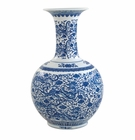 "Andrea by Sadek 21.75"" H Blue & White Dragon Vase"