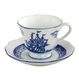"Andrea by Sadek 3.25"" H Cup & Saucers - Blue Export (Set of 4)"