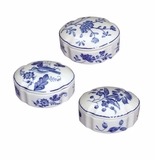 Andrea by Sadek 3 Assorted Oval Boxes Blue in Bloom