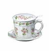 "Andrea by Sadek 4.25"" H Apple Bliss Covered Mug with Mesh Strainer"