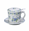 "Andrea by Sadek 4.25"" H Blue Forget Me Not Covered Mug with Mesh Strainer"