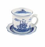 "Andrea by Sadek 4.25"" H Covered Tea Mug Blue Export (Set of 3)"
