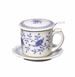 "Andrea by Sadek 4.25""H Covered Tea Mug Blue in Bloom"