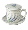 "Andrea by Sadek 4.25"" H Lavender Ribbed Covered Mug"