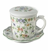 "Andrea by Sadek 4.25""H Ribbed Covered Tea Mug Garden Bouquet"