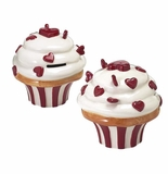 "Andrea by Sadek 4.5"" H Heart Cup Cake Banks Set of 4"