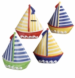 "Andrea by Sadek 4 Assorted 7"" H Sail Boat Banks"