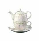 "Andrea by Sadek 5"" H Mini Tea For One Pink Pinstripe"