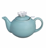 """Andrea by Sadek 5""""H Teapot with Mesh Strainer Aqua with Daisy"""