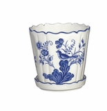 "Andrea by Sadek 5"" Planter With Saucer - Blue in Bloom"
