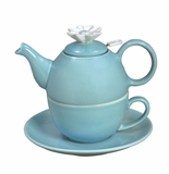 "Andrea by Sadek 6.25""H Tea for One with Mesh Strainer Aqua"