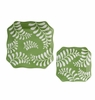 "Andrea by Sadek 6.5"" Sq Green Leaves Plates Set of 4"