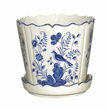 "Andrea by Sadek 6.75"" Planter With Saucer - Blue in Bloom"