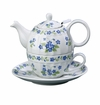 "Andrea by Sadek 6"" H Blue Forget Me Not Tea For One with Mesh Strainer"