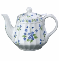 "Andrea by Sadek 6"" H Blue Forget Me Not Teapot with Mesh Strainer"