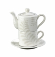 "Andrea by Sadek 7.25"" H Cream Leaves Tea For One"