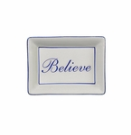 "Andrea by Sadek ""Believe"" Soap or Catch-All  Dish - Blue Border"