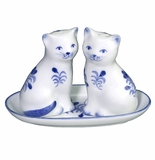 Andrea by Sadek Blue and White Cats Salt & Pepper Set with Tray