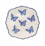 Andrea by Sadek Blue Butterflies Scalloped Plates (4)