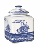 Andrea by Sadek Blue Export Square Covered Jar