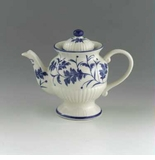 Andrea by Sadek Blue Leaf Ribbed Pedestal Teapot