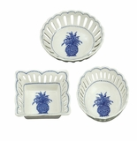 Andrea by Sadek Blue Pineapple Assorted Openwork Dishes (3)