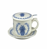Andrea by Sadek Blue Pineapple Covered Tea Mug