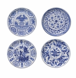 "Andrea by Sadek Blue & White Porcelain 8.75"" Plates (Assorted Set of 4)"