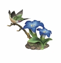 Andrea by Sadek Calliope Hummingbird with Gentiana Porcelain Flower Figurine