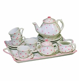 Andrea by Sadek Child Tea Set with Tray Pink Polka Dot