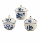 Andrea by Sadek Colonial Williamsburg 3 Assorted Covered Boxes Blue and Cream