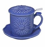 Andrea by Sadek Daisy Covered Mug - Bright Blue