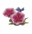 Andrea by Sadek Double Pink Dianthus with Butterfly Porcelain Flower Figurine