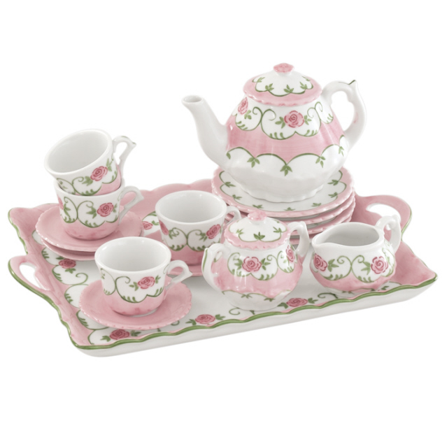 Andrea By Sadek Eloise Pink Rose Childs Tea Set With Tray