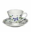 Andrea by Sadek Forget Me Not Cup and Saucer - Blue (Set of 4)