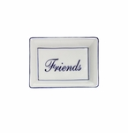 "Andrea by Sadek ""Friend"" Soap or Catch-All  Dish - Blue Border"