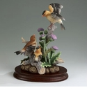 Andrea by Sadek Goldfinch Family with Thistle Figurine