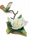 Andrea by Sadek Hummingbird with White Magnolia Figurine