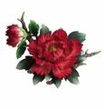 Andrea by Sadek Large Red Peony on Branch Porcelain Flower Figurine