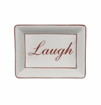 """Andrea by Sadek """"Laugh"""" Soap or Catch-All  Dish - Red Border"""