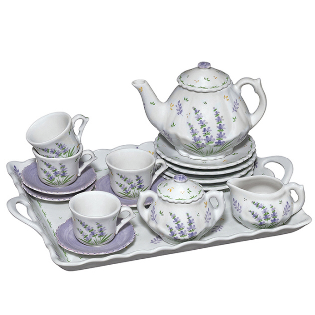 Andrea By Sadek Lavender Porcelain Child S Tea Set For Four