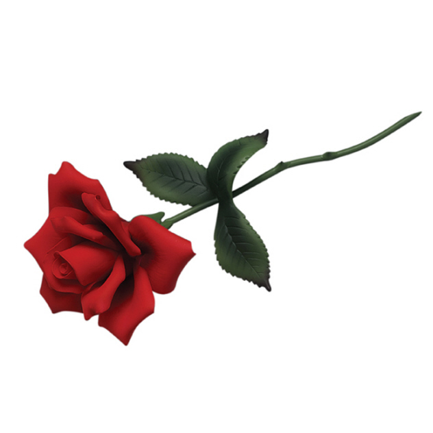 Red Long Stemmed Rose With Ribbon Tattoo