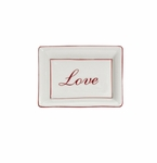 "Andrea by Sadek ""Love"" Soap or Catch-All  Dish - Red Border"